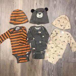 Newborn Berber longsleeve onesies & matching hats